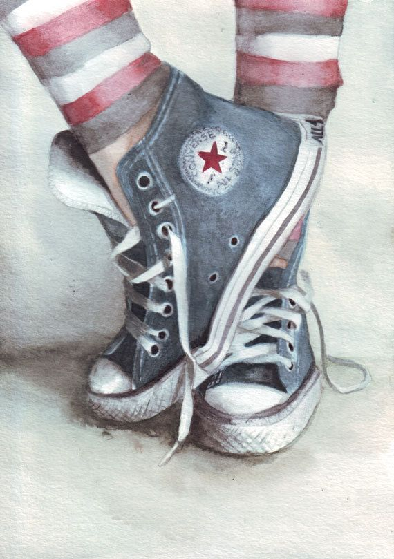 Drawn converse all star $27 watercolor Original painting best
