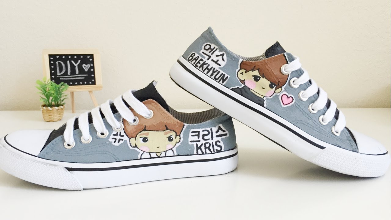 Drawn converse canvas shoe EXO tutorial Canvas painting