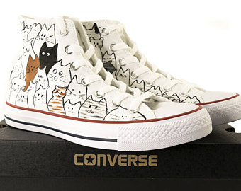 Drawn converse cat in hat Shoes hand Converse cat Taylor