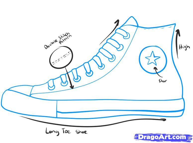 Drawn sneakers easy Converse to how draw how
