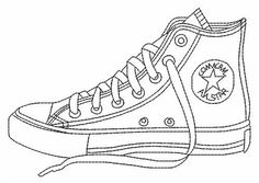 Drawn converse drawing To Coloring how step Shoe