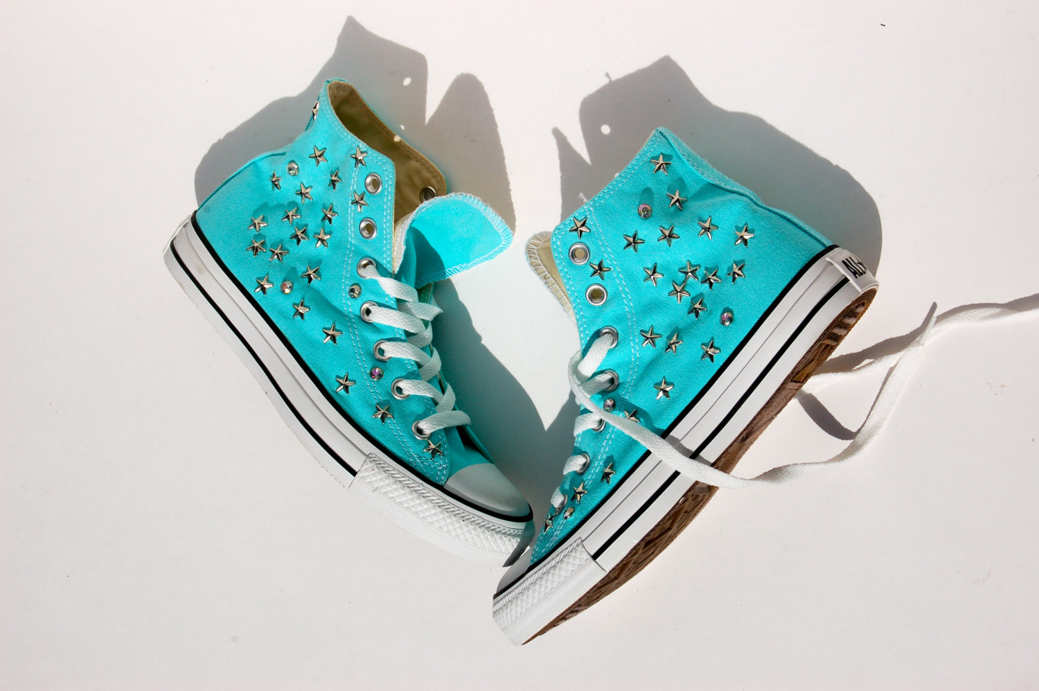 Drawn converse embellished High Tops of Converse Studded