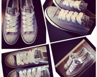 Drawn converse embellished Crystals Embellished CONVERSE Chuck Charcoal