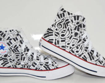 Drawn converse music note Music note custom shoes converse