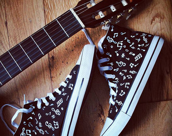 Drawn converse music note Shoes music vans music handpainted