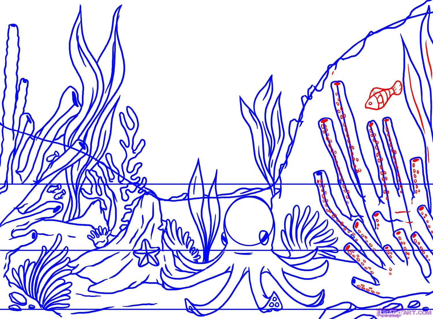 Drawn coral reef Step by How Landmarks a