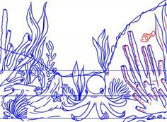 Drawn coral reef sketch #15