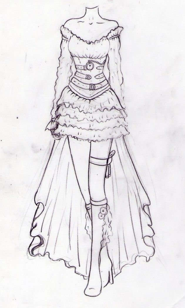 Drawn costume For DrawingSteampunk on Dress CostumeSteampunk