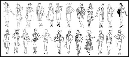 Drawn costume Timeline Silhouettes Line Suit History