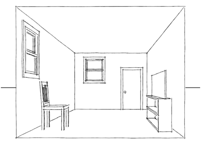 Drawn room perspective 6 Tutorial Point Perspective Step