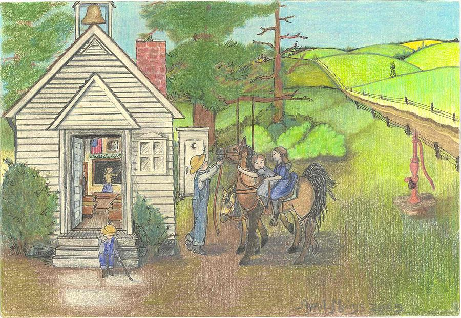 Drawn countyside Mains Schoolhouse Drawing by by