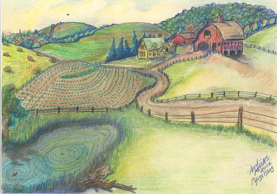 Drawn countyside Mains April Countryside Road Homestead
