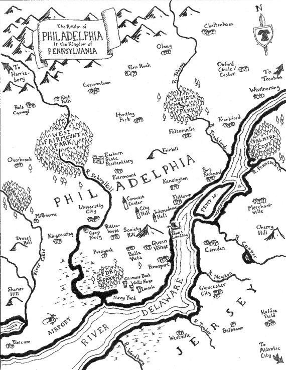 Drawn countyside america Fantasylands Tolkien as American Cities