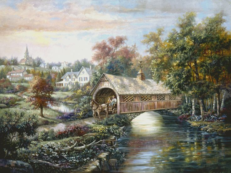 Drawn river black and white By wagon about covered Valent