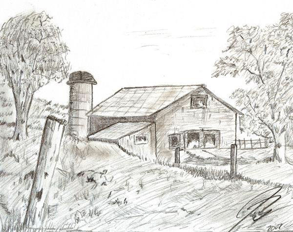 Drawn river countryside landscape On Pencil the a This