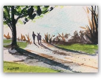 Drawn countyside country landscape Miniature Landscape Watercolour ACEO ORIGINAL