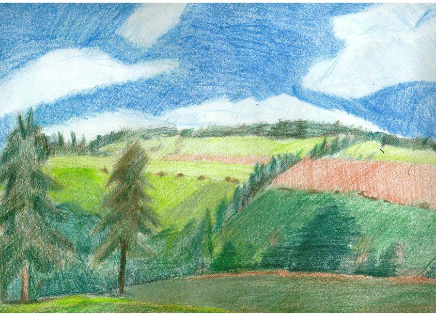 Drawn scenic colored pencil Fujoshianimechick Drawing Landscape Pencil on
