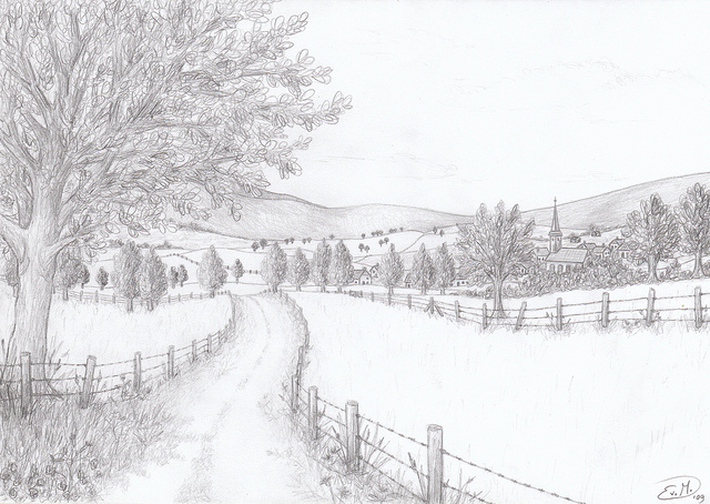 Drawn countyside country landscape Flickr Landscape/Cityscape  Drawings: