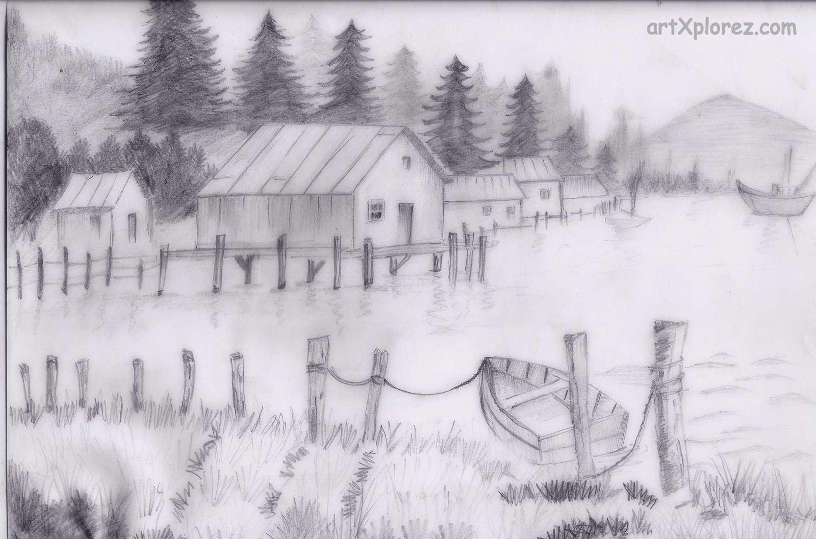 Drawn scenic shading Art artXplorez shading Landscapes pencil