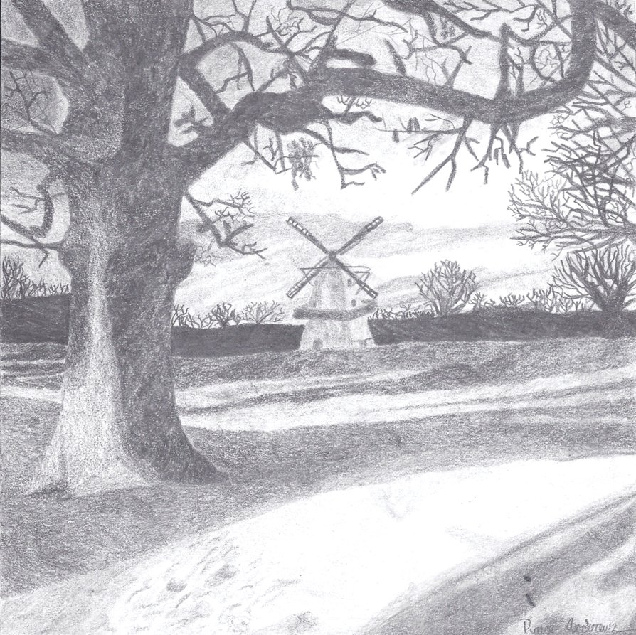 Drawn countyside scenery Tipping teapots tipping by by