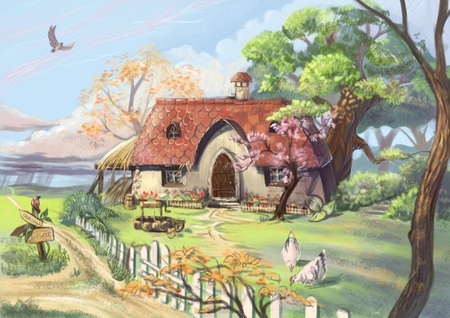 Drawn countyside scenery Wallpapers art on tree Cottage