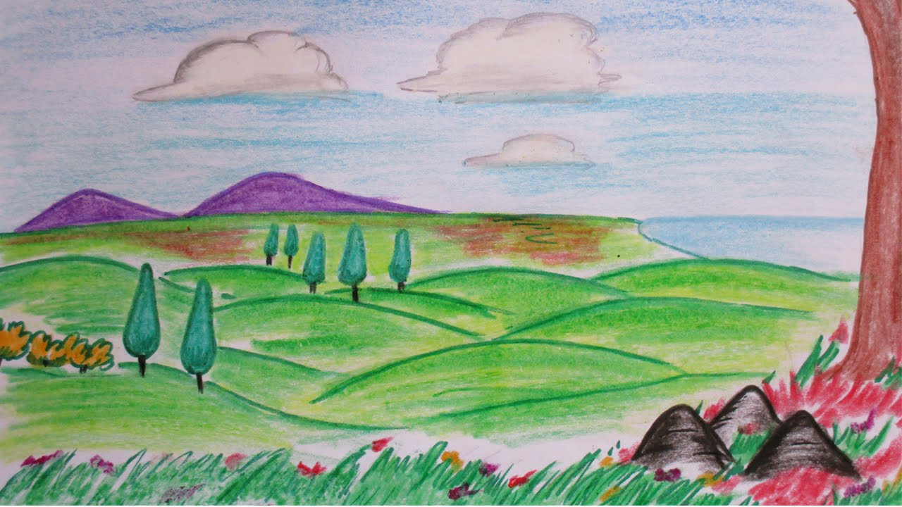 Drawn river countryside landscape Hillside draw How Drawing How