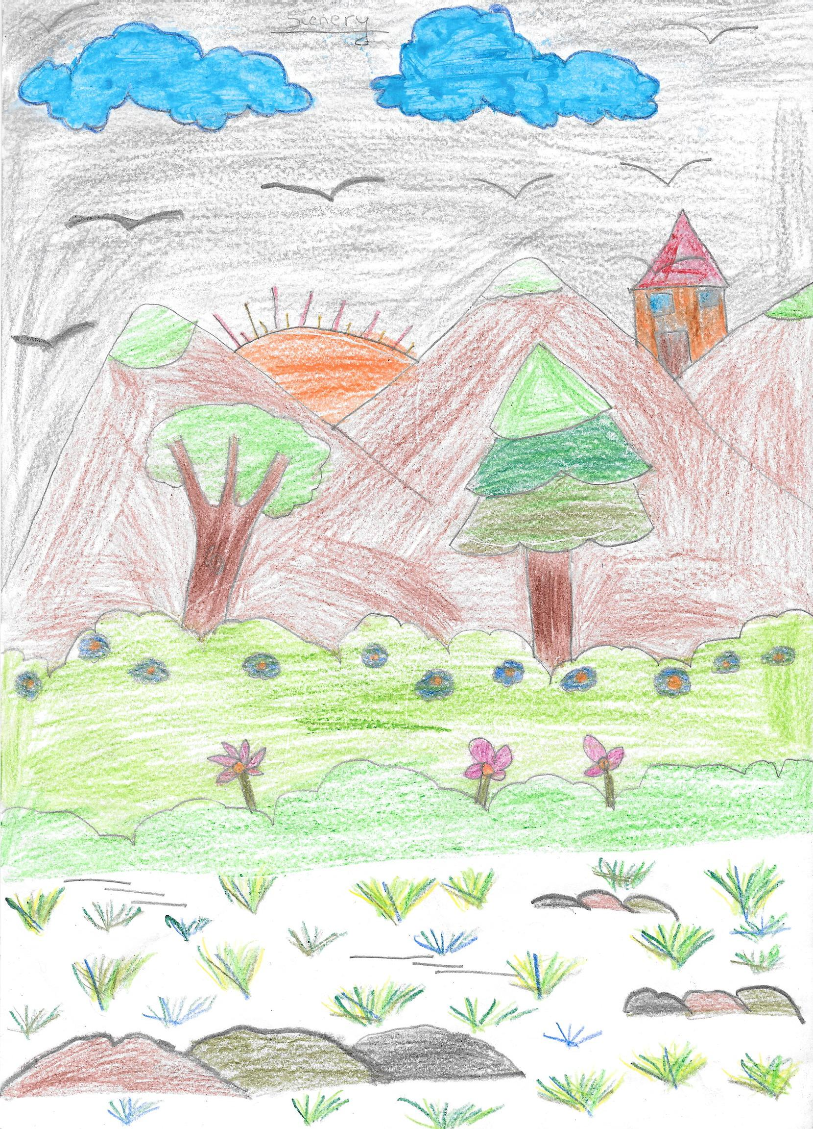 Drawn scenic hand drawn Scenery made images country sketch