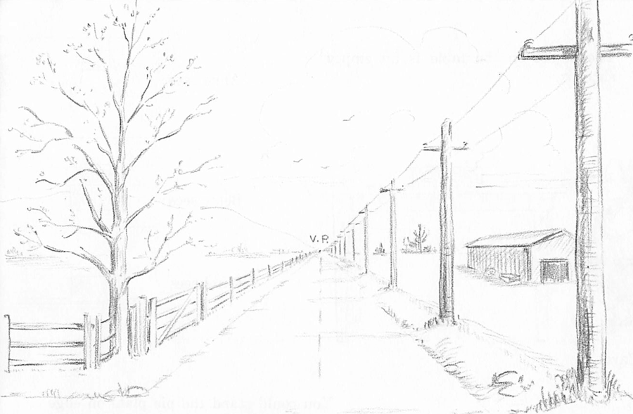 Drawn nature perspective drawing  Point Point One Scene