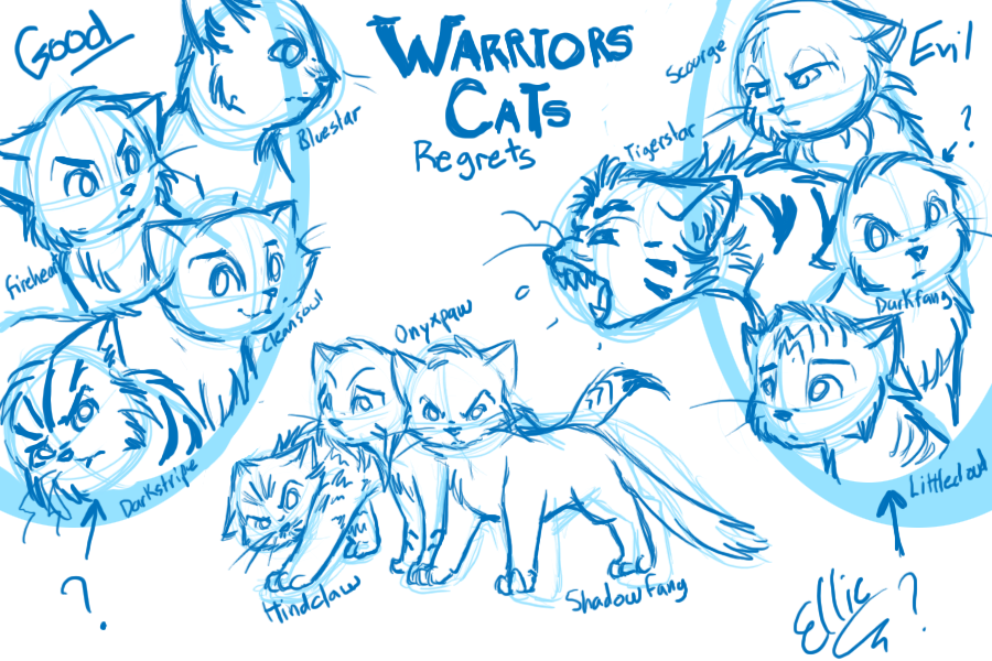 Drawn cover warrior cat Regrets on Cats: by Yolly