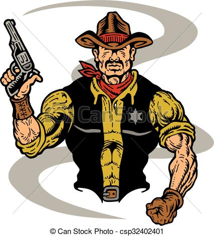 Drawn cowboy Of Vector sheriff cowboy Vector