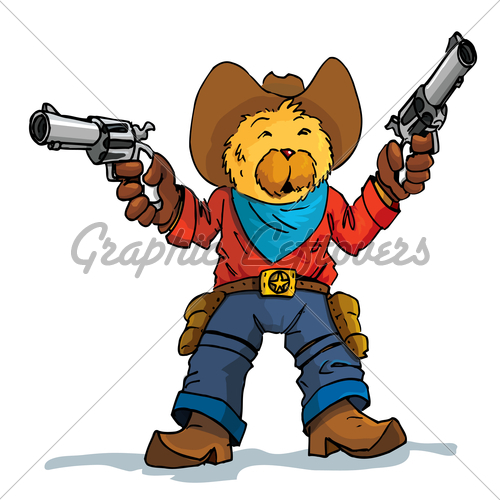 Drawn cowboy With Cartoon Of · Guns