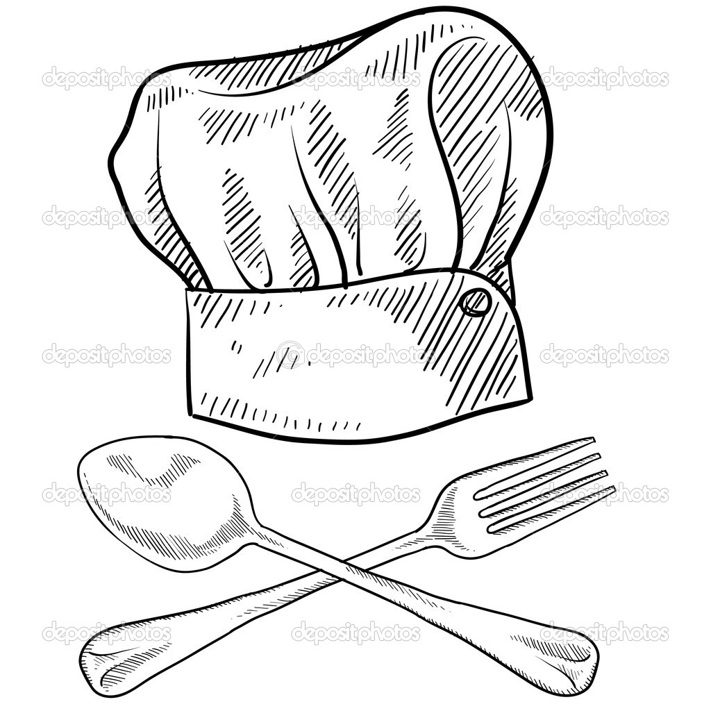 Drawn hat chef Hat hat lhfgraphics utensils Vector