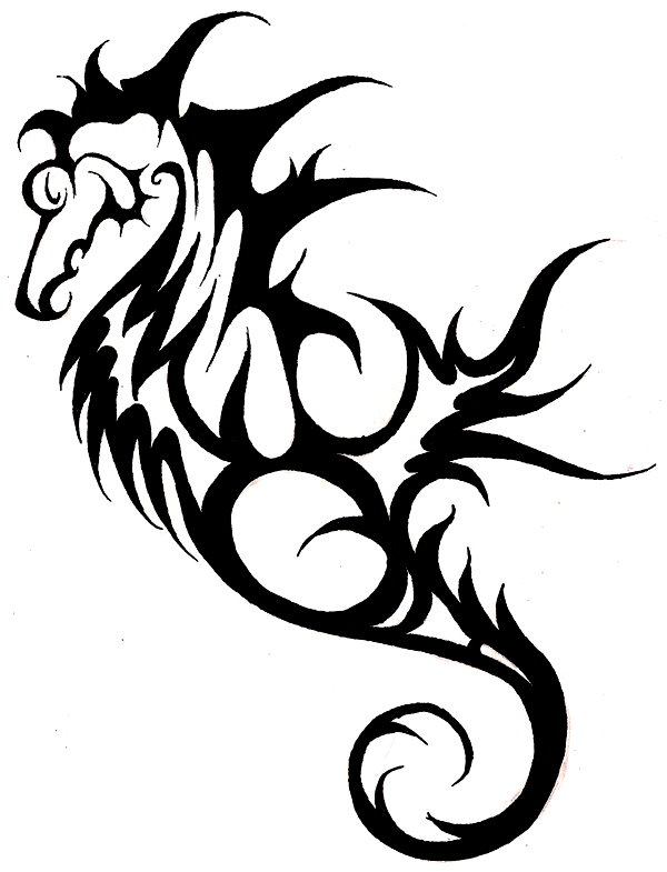 Drawn seahorse tribal Tattoos Cool of seahorse tattoo