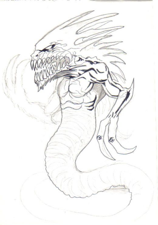 Drawn snake demon Serpent demon sketch HubPages simple