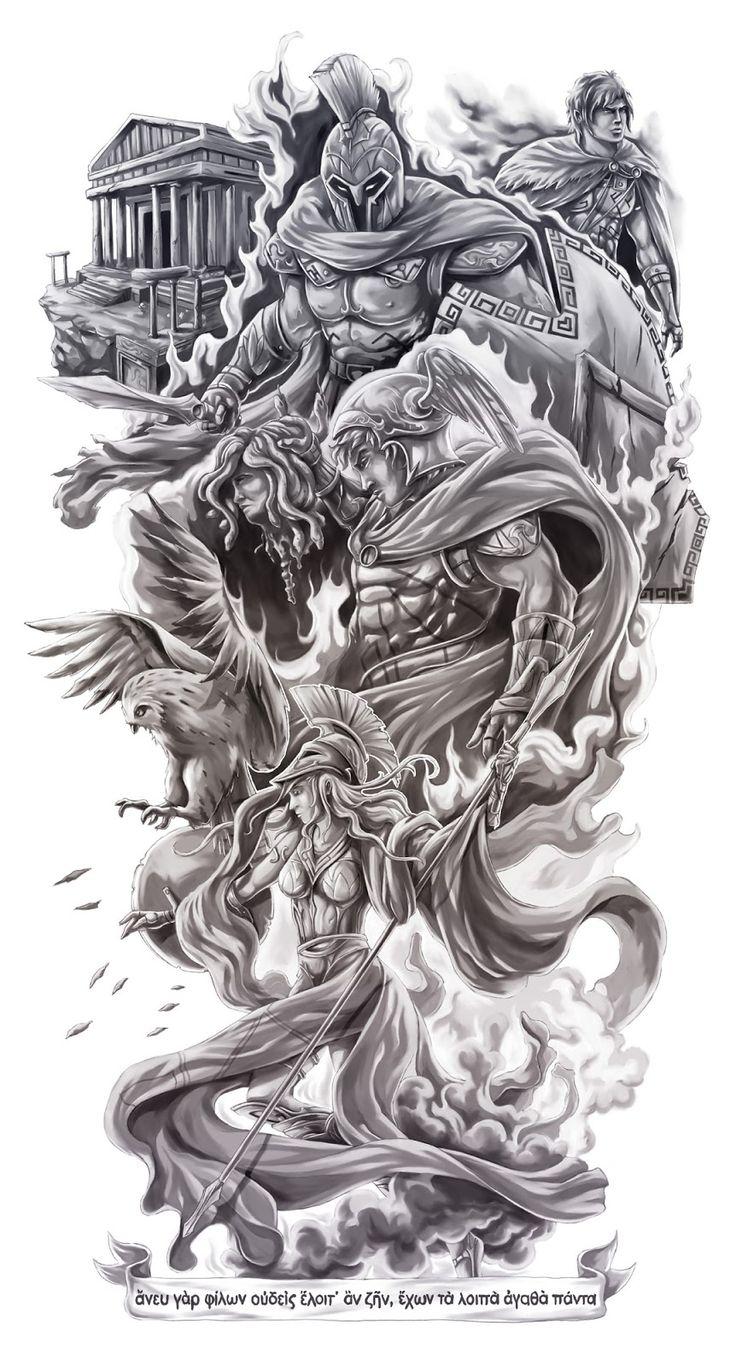 Drawn tattoo greek warrior #3