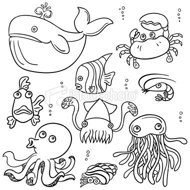 Drawn sea ocean creature Drawings Sea Numbers Coloring Animal