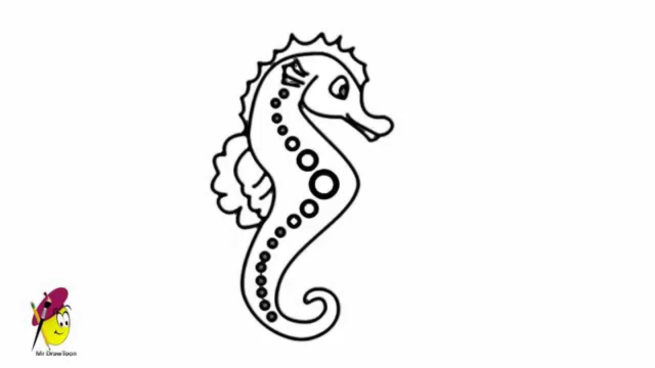Drawn sea life seahorse Sea Sea to draw Easy