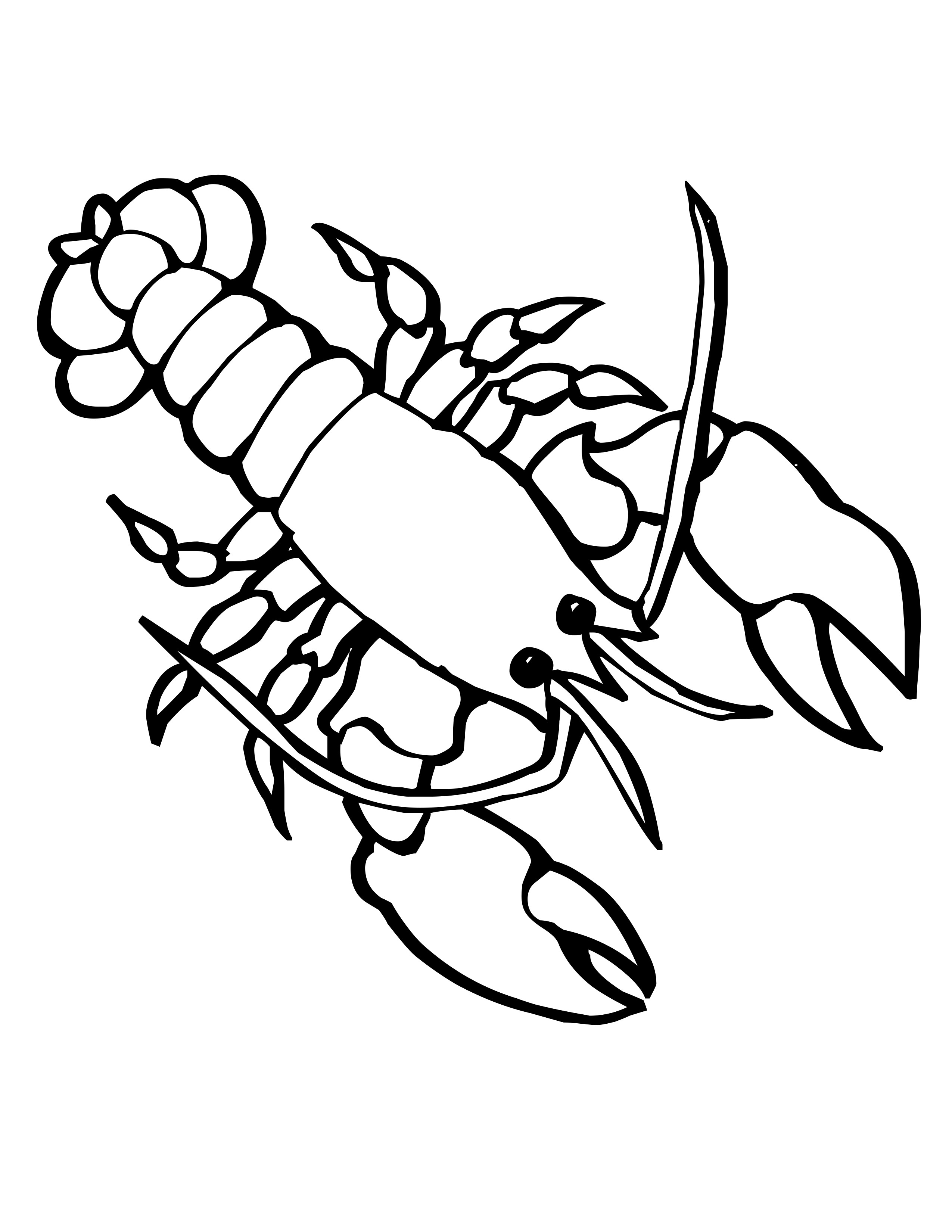 Drawn sea life aquatic animal Colour Blank underwater 64609 Editable
