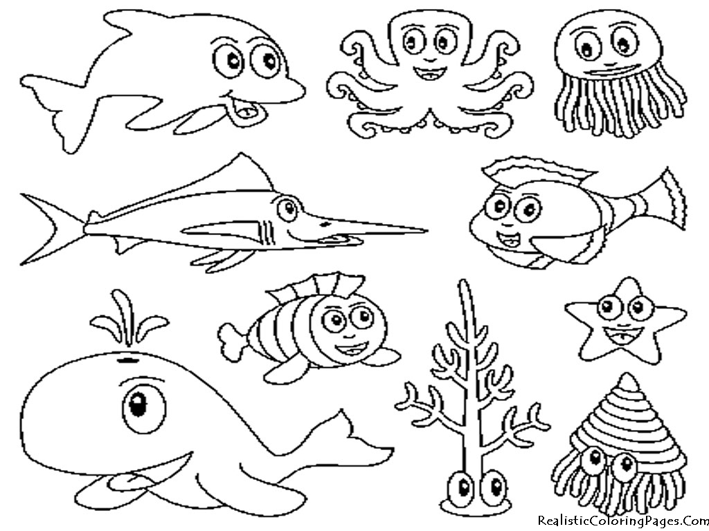 Drawn sea ocean creature Printable Kids Colour 01 –