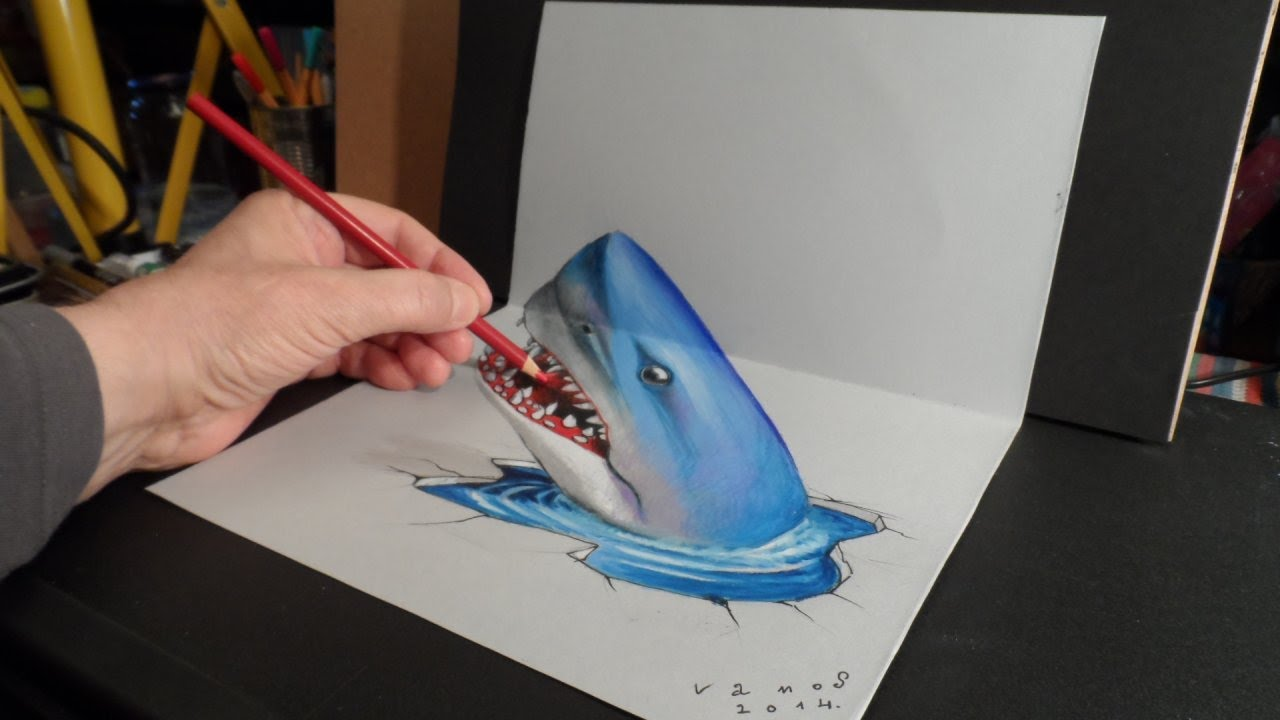 Drawn shark 3d street art Shark Optical YouTube Illusion Art