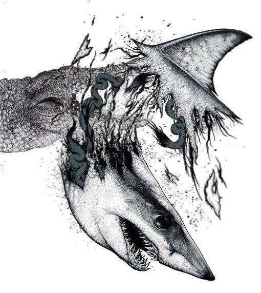 Drawn shark crocodile Non Bond Death levels… many