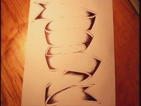 Drawn ribbon pencil drawing Drawing a Drawing Ribbon Ribbon