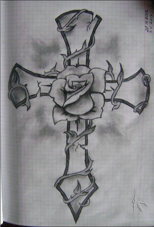 Drawn cross Cross 25+ tattoos Pinterest Rose