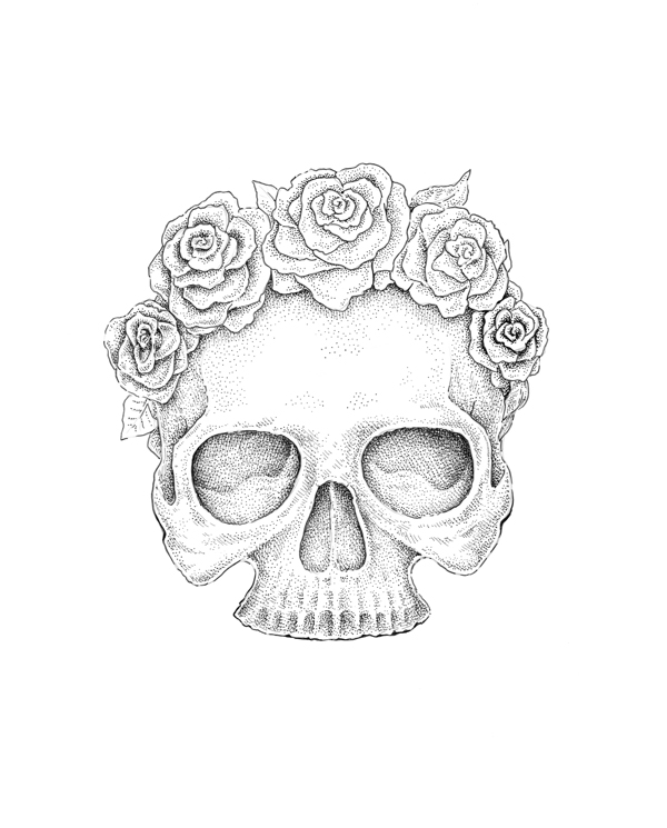 Drawn skull small A to Create Drawing Roses