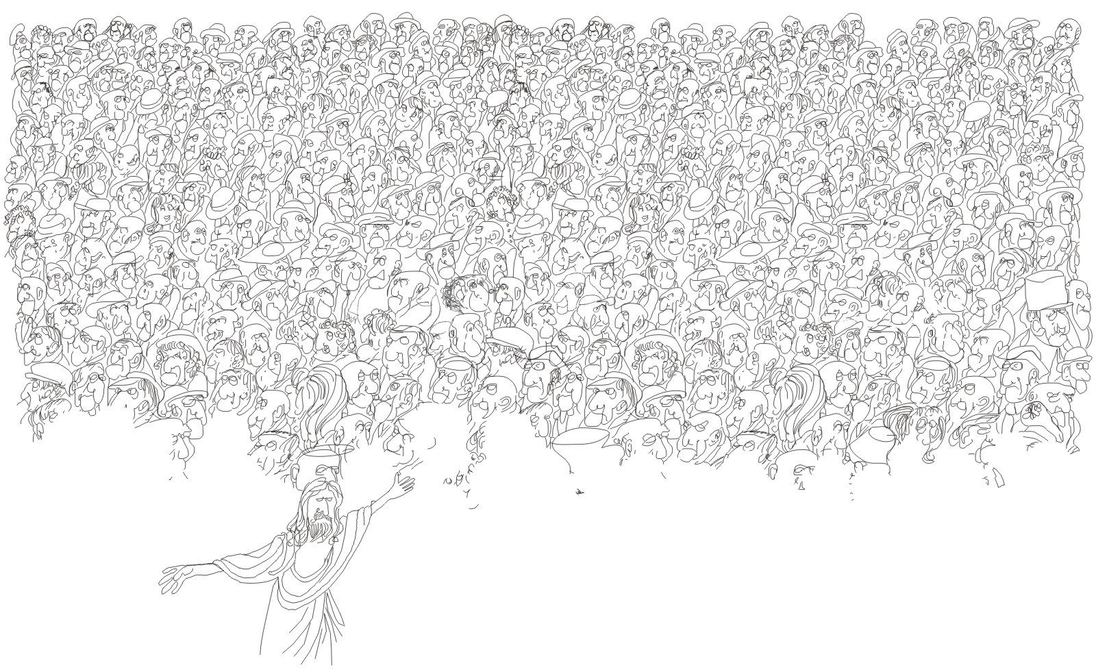 Drawn crowd H P obama speech