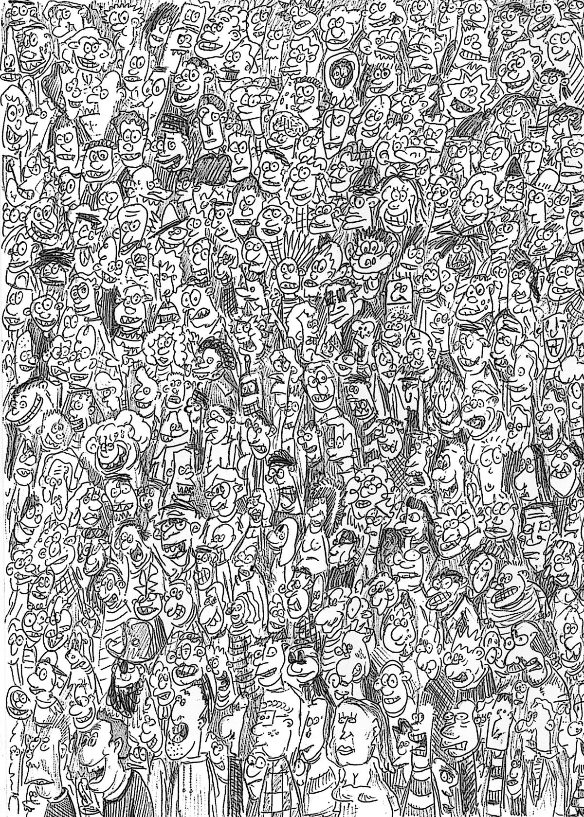 Drawn crowd Backhouse Drawn Scene by