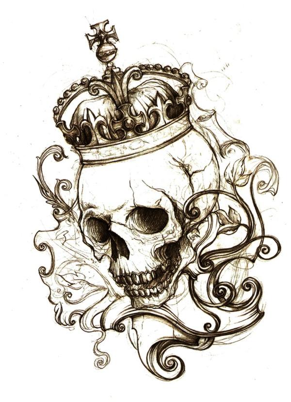 Drawn skull crown drawing Clown Art Drawings place Macabre