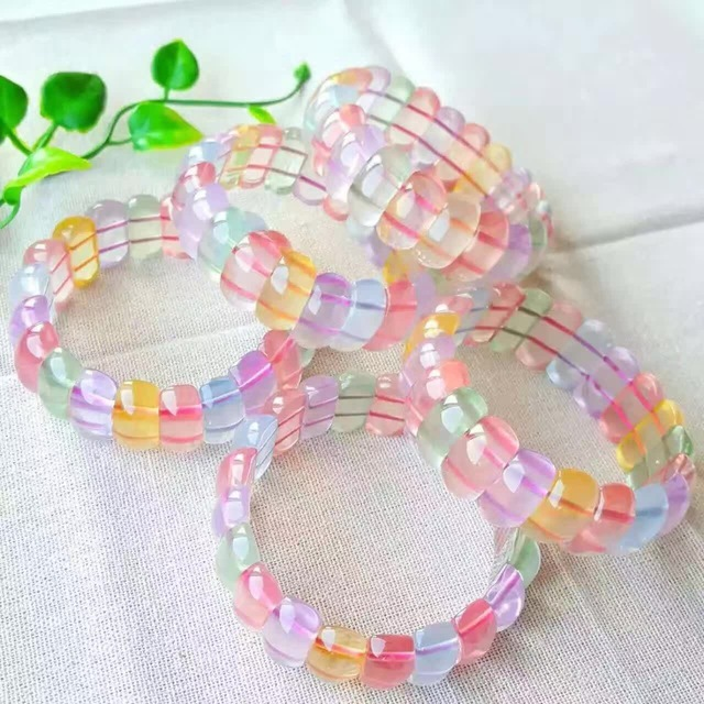 Drawn crystal Multicolored Natural Lucky Beaded Elements