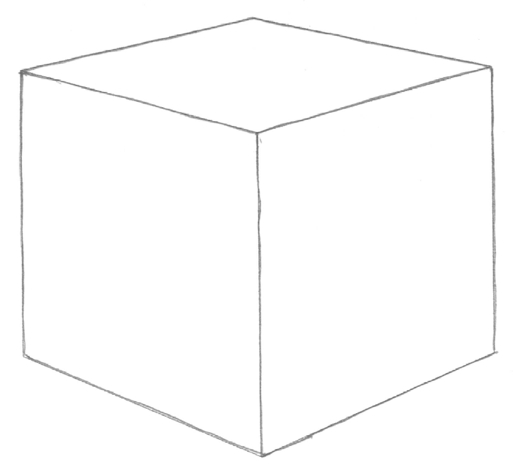 Drawn cube Is thickness lines drawing lines