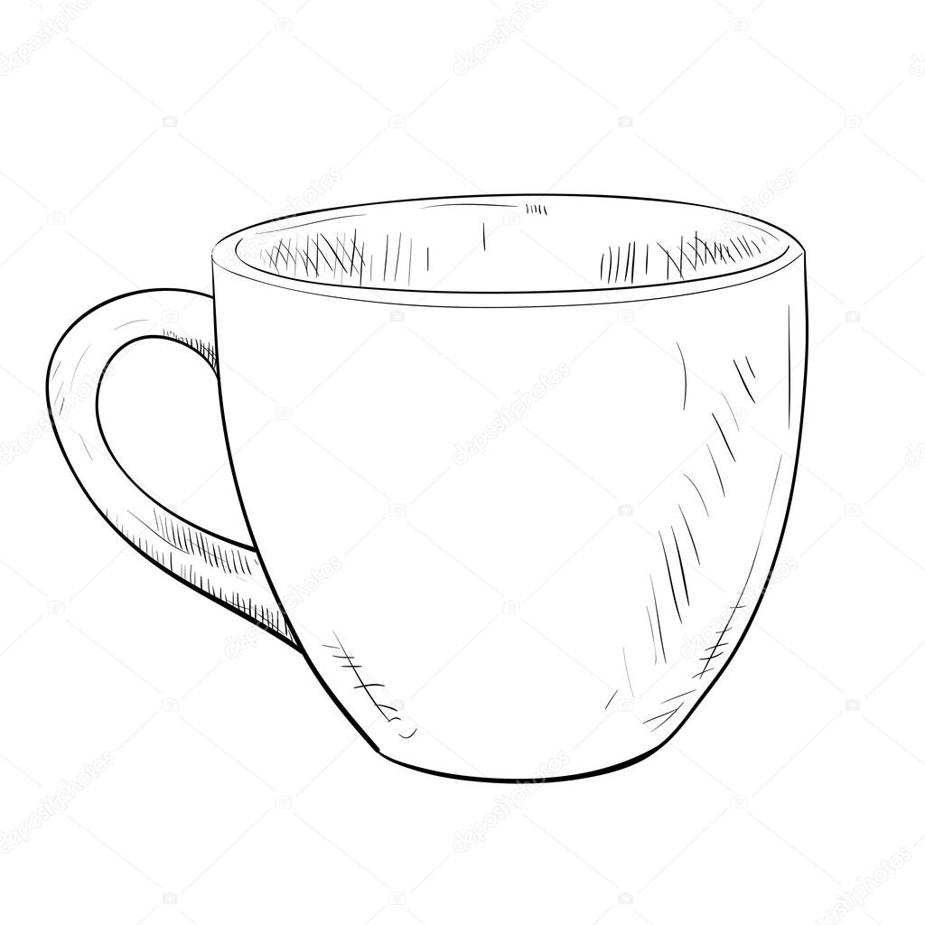 Drawn cup Vector Vector Stock Hand drawn